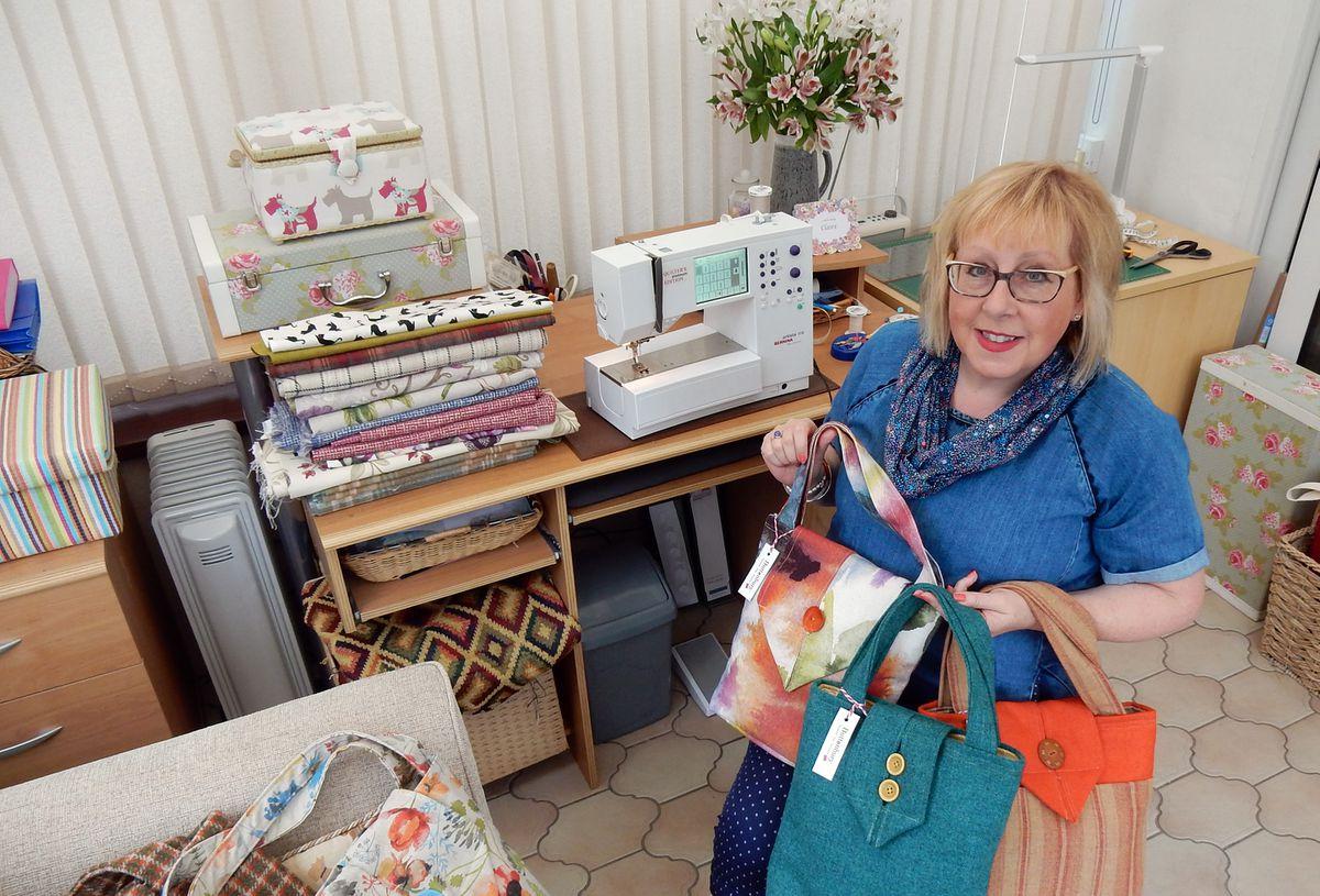 Sandra in her sewing studio