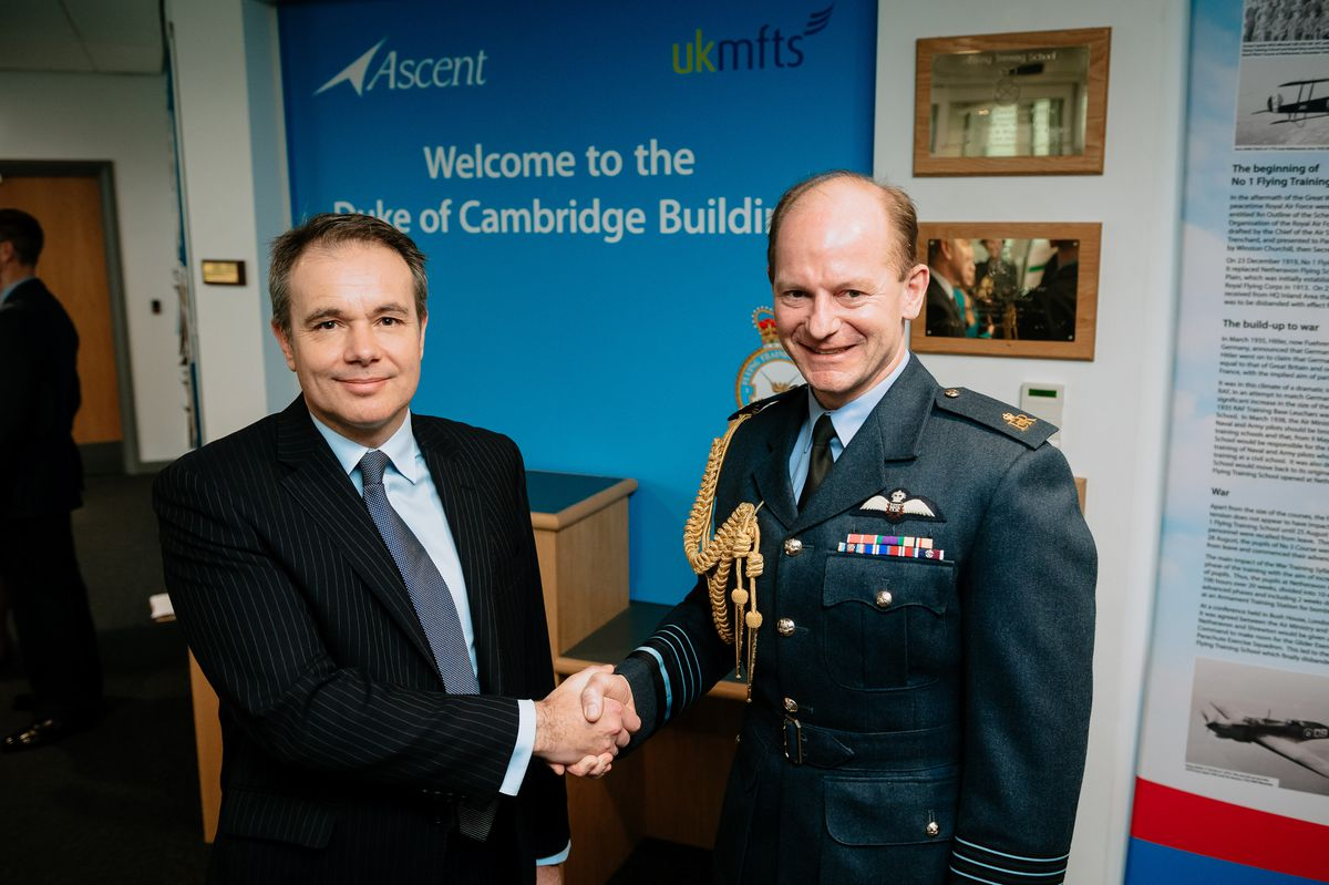 Managing director of Ascent flight training, Tim James, and Air Chief Marshal Mike Wigston