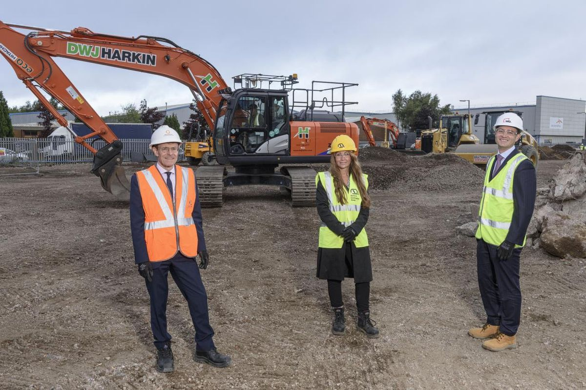 L-R Andy Street, Mayor of the West Midlands, Michelle Elleman, business development manager at mac-group and Paul Hodge, managing director of Warmflame Developments, at the Cakemore Road site (Picture taken before lockdown)