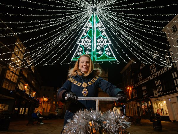 Mayor of Shrewsbury Gwen Burgess switches on the Christmas lights