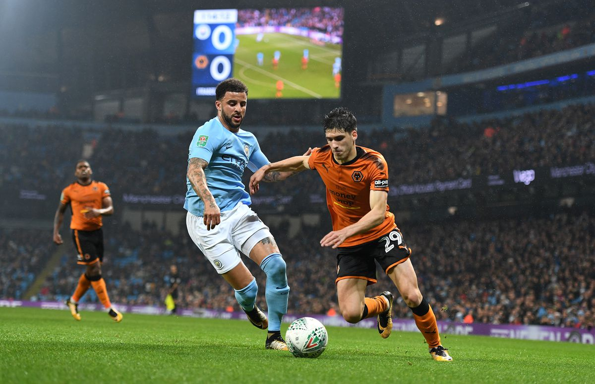 Vinagre takes on Kyle Walker during Tuesday's Carabao Cup exit at Manchester City (© AMA / Sam Bagnall)