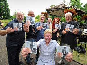 Launching their charity single, members of The Bradeney Bunch, (front) Les Jones, (left-right) John Hodgetts, Mark Cronin, Steve Street, DJ Carl Hanson, Emma Jarratt, and Andy Tither