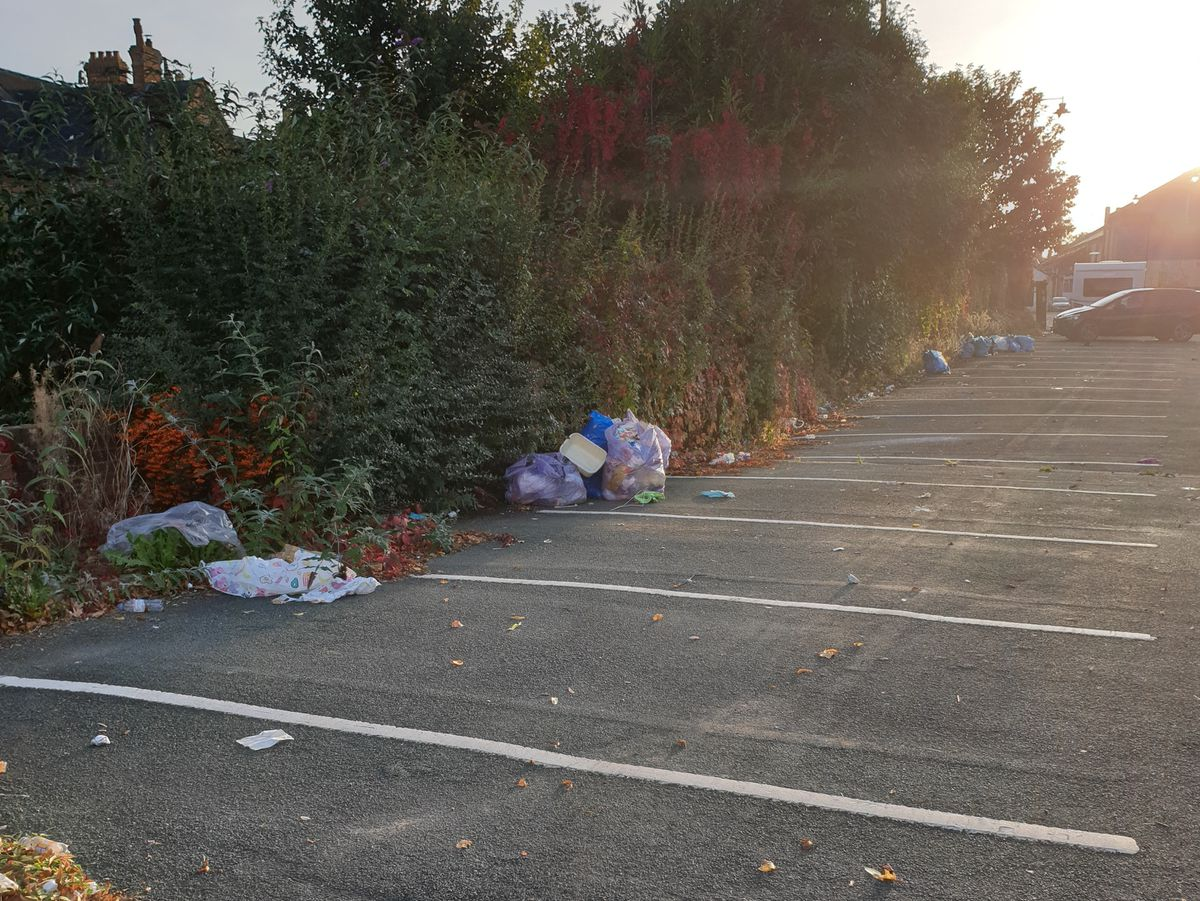 Some of the rubbish left in the car park