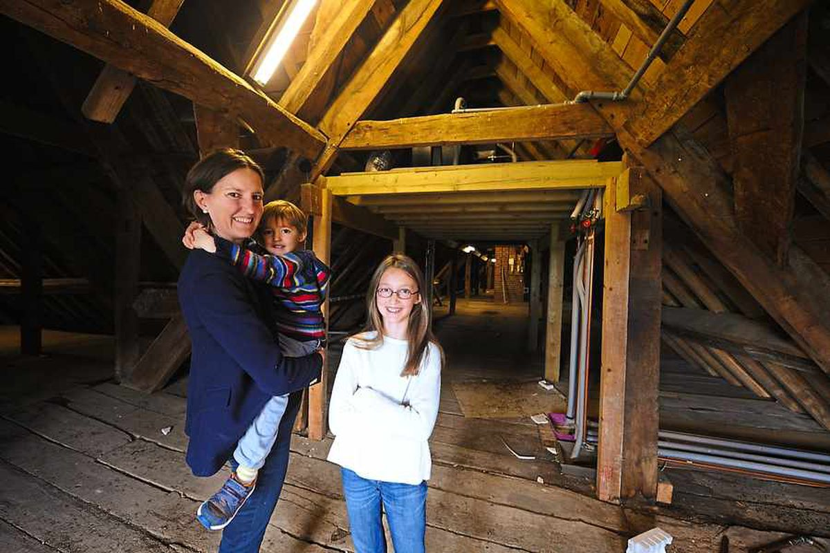 Rowena with Edward and Georgiana in the attic