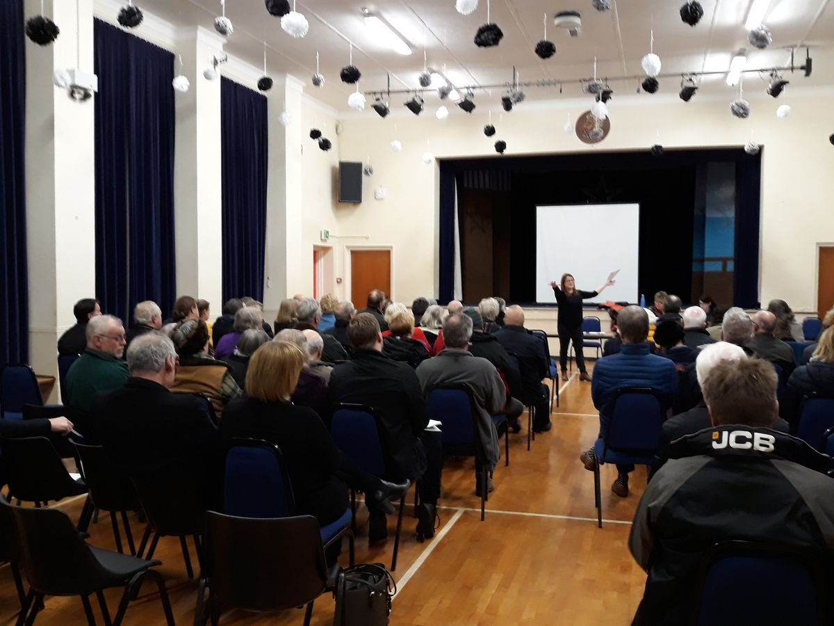 Villagers went to a public meeting at Buttington/Trewern to discuss proposals for an incinerator at Buttington Quarry. Picture form December 2018 - by Elgan Hearn
