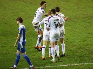 Shaun Whalley of Shrewsbury Town celebrates after scoring a goal to make it 1-1 (AMA)