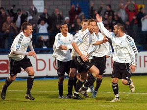Telford's Jon Adams, right, celebrates with team mates after he scored Telford's 1st goal against Southend in the FA Cup. (Andy Cunningham)