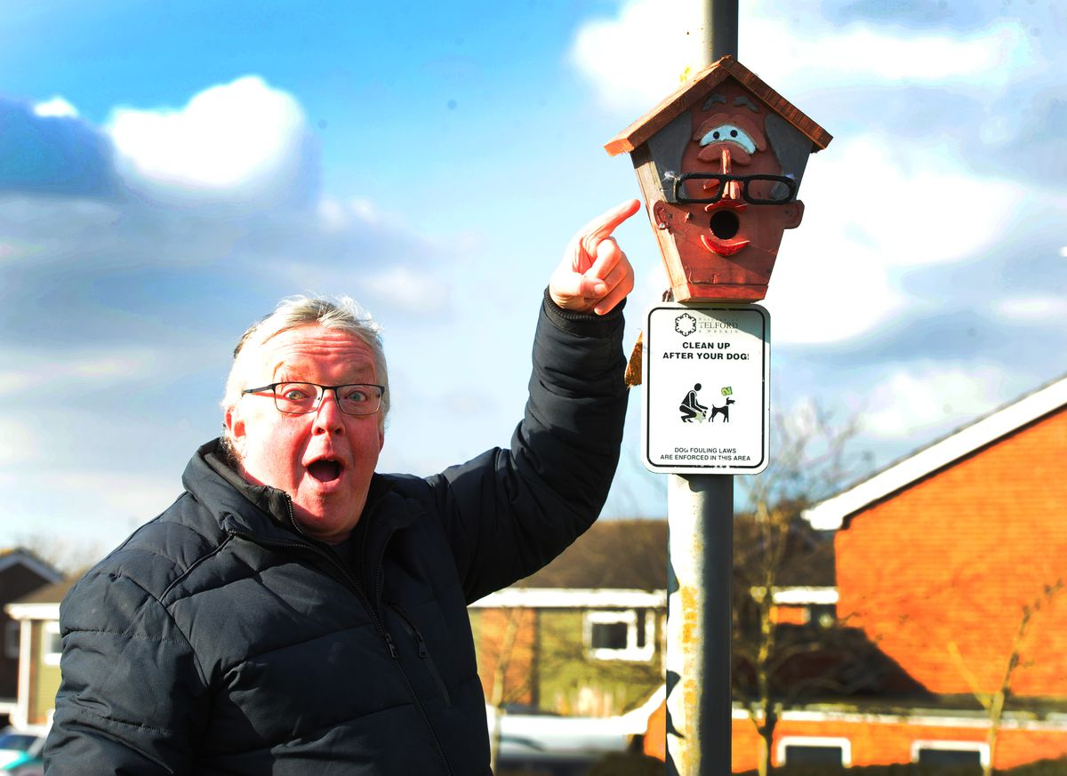 One of the bird boxes that has suddenly appeared in Newport, pictured with mayor Peter Scott