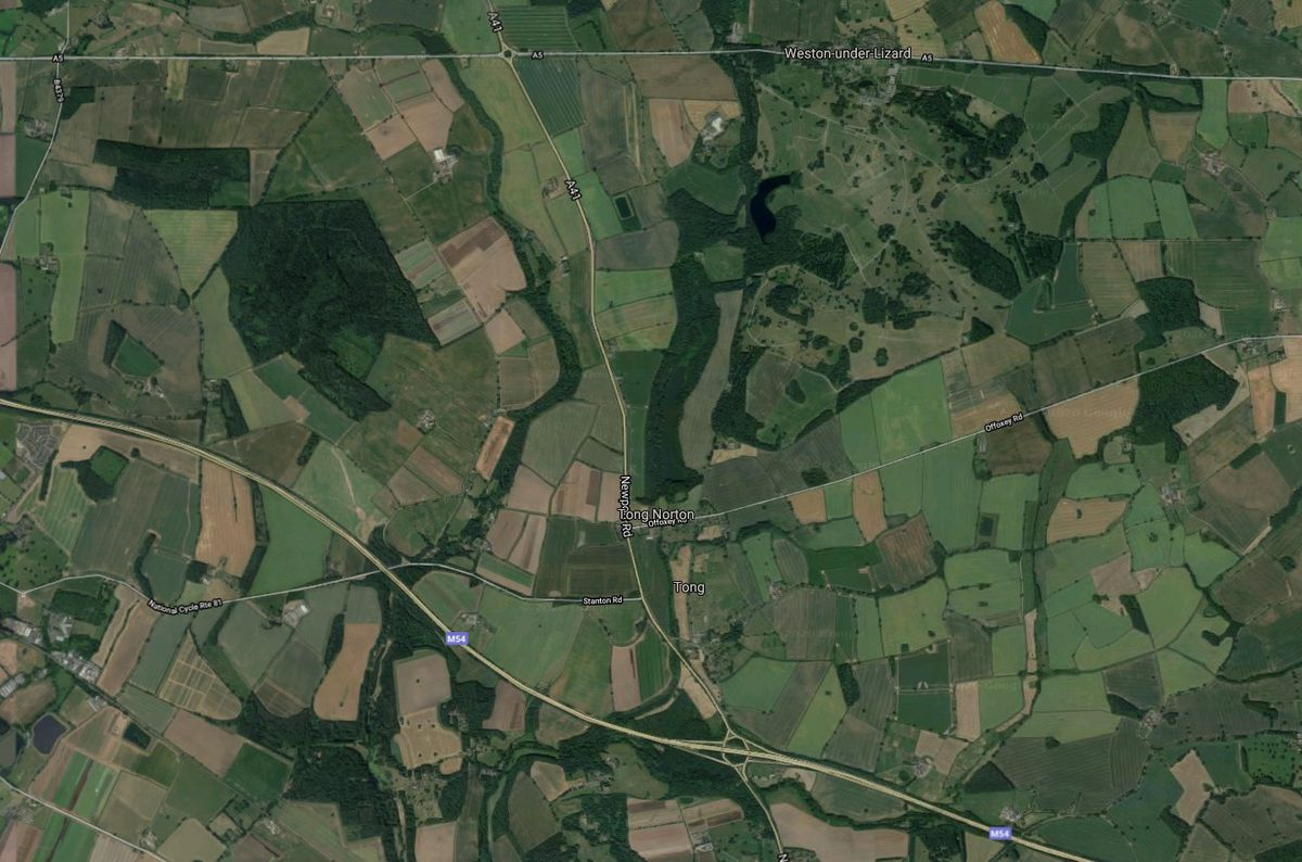 An aerial view showing land owned by the Bradford Estates next to Junction 3 of the M54. Photo: Google