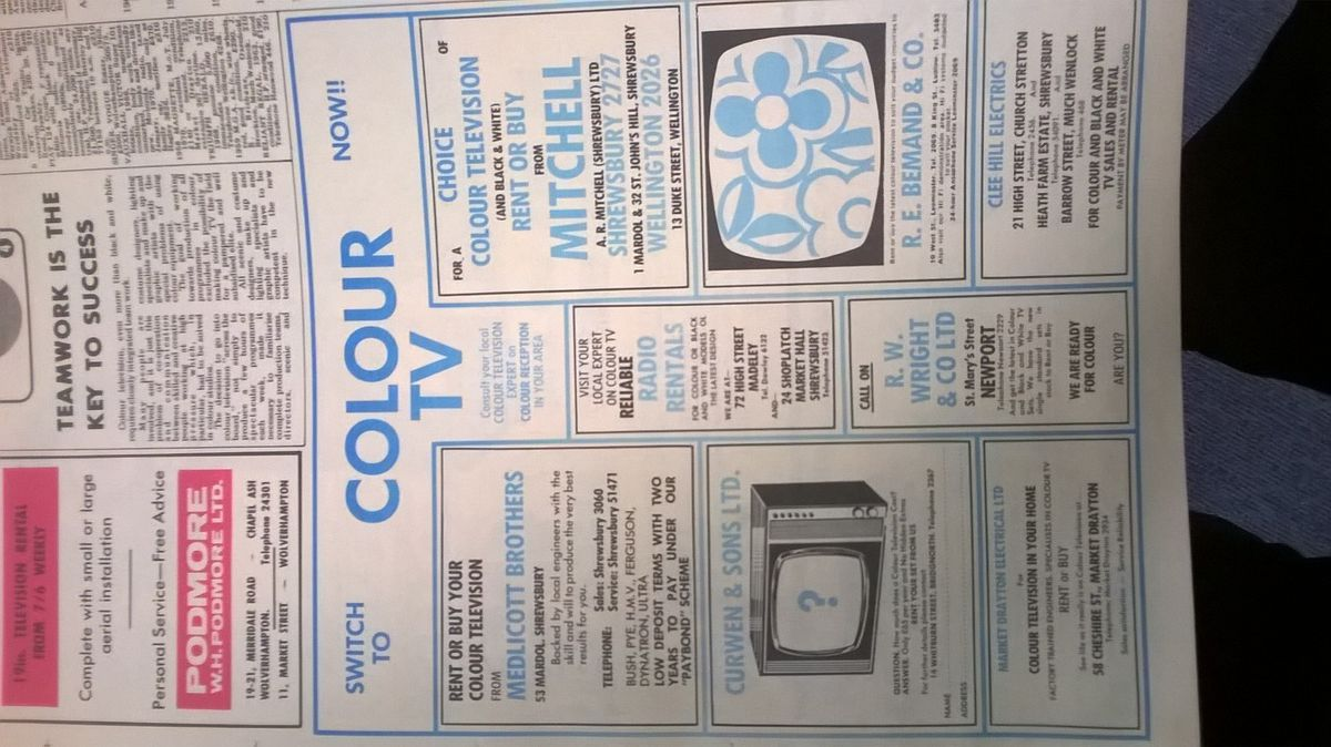 Adverts by TV retailers in the Star ahead of the launch of BBC1 and ITV colour services