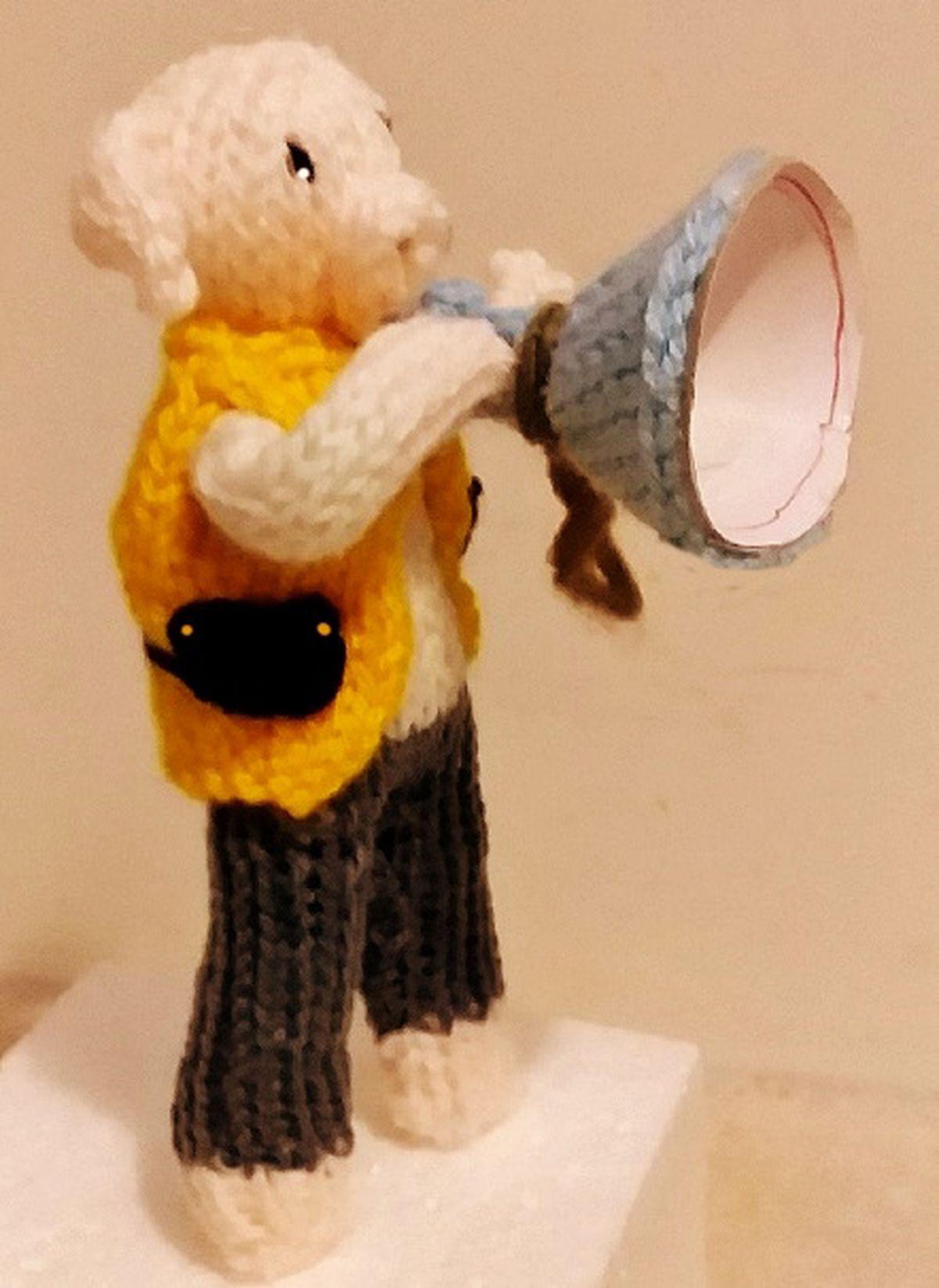 'Hamplify' – one of Rita's knitted woollen pigs