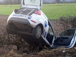 Driver and dog escape serious injury as car ends up in ditch near Oswestry