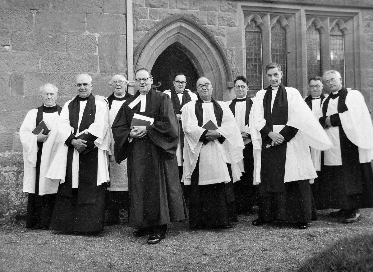 A good congregation from many villages attended the annual deanery meeting held at Condover Church on Ascension Day, May 4, 1967. This picture shows clergy who attended the service. On the left are the guest preacher, Dr Marcus Ward, of Richmond Methodist College, London, and the rural dean, Prebendary B L Jones.