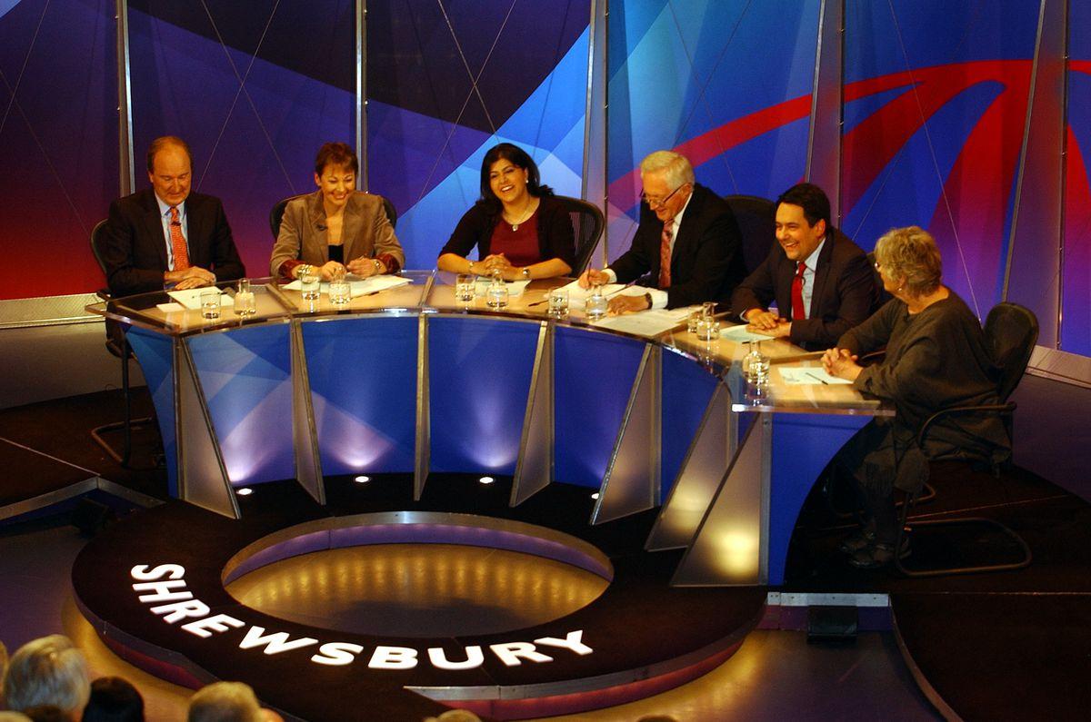 Back again – Question Time returns to Shrewsbury in 2012. Charles Moore, Caroline Lucas, Baroness Sayeeda Warsi, David Dimbleby, MP Stephen Twigg and Germaine Greer get ready for the debate.