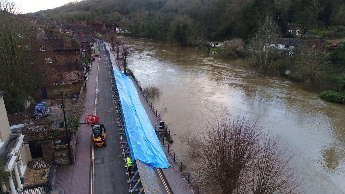 Flood barriers being installed in Ironbridge. Photo: Chris Bainger
