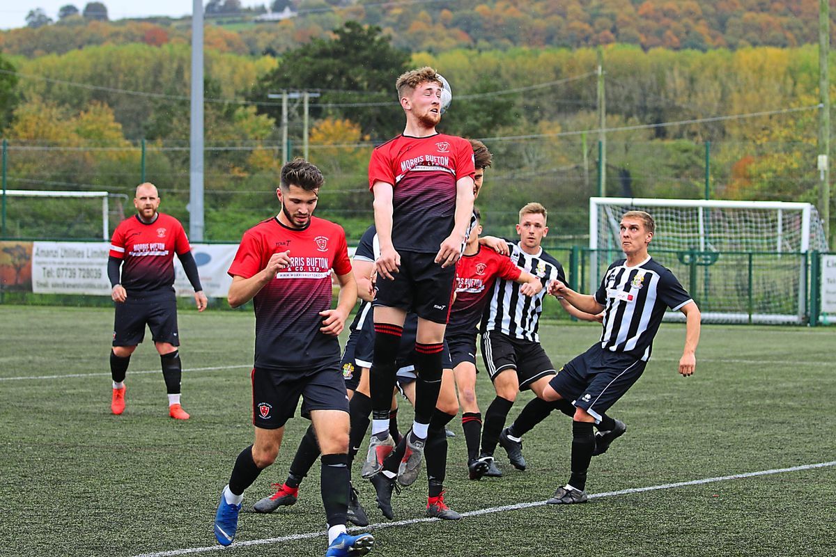 Ludlow Town Colts' Sol Barker climbs high during the victory against Ledbury            Picture: Graham Gould