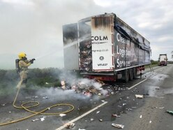 Blazing HGV trailer closes A442 in Telford
