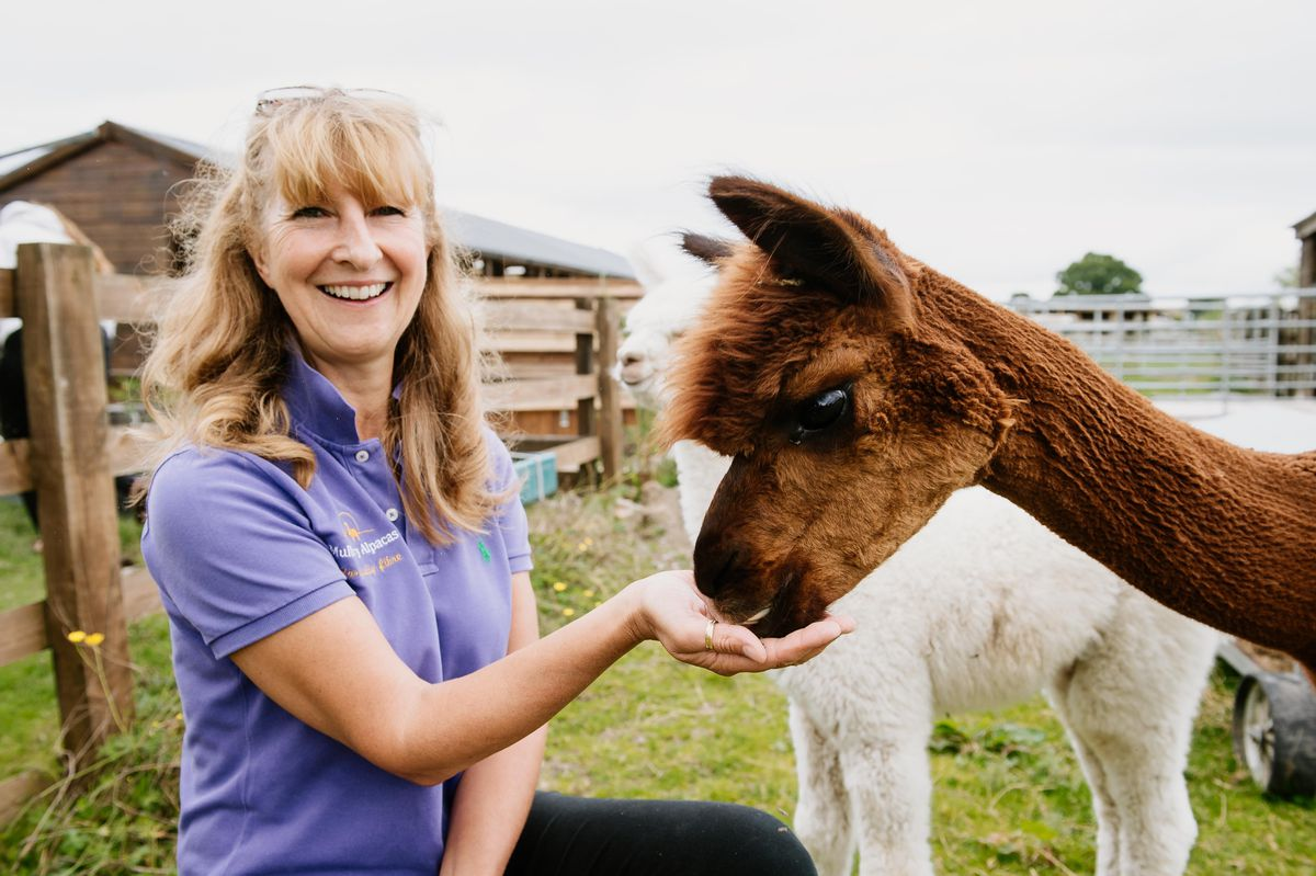 Mulberry Alpacas near Overton are throwing an open day on Saturday September 4. Pictured are Roz Edwards and Jezzy