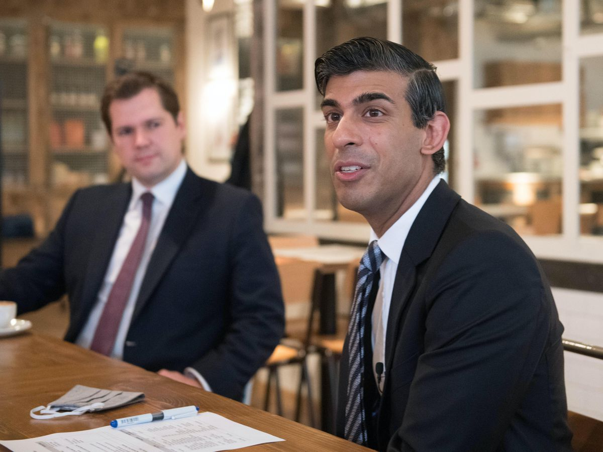 Chancellor Rishi Sunak (right) with Housing Secretary Robert Jenrick, hosting a roundtable for business representatives at Franco Manca in Waterloo, London