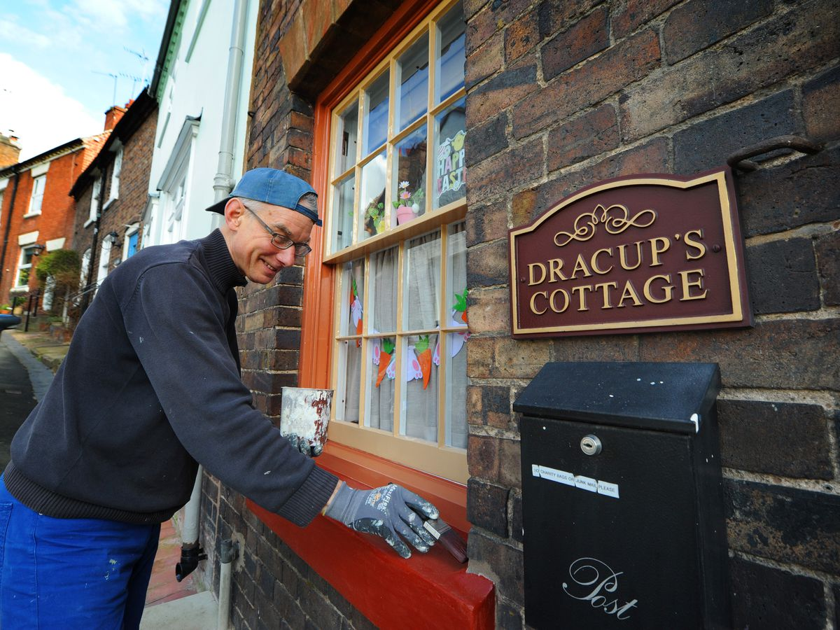 Dennis Dracup, spending time painting some of his father's, artist Antony Dracup, old house, at Dracup Cottage, Railway Street, Bridgnorth