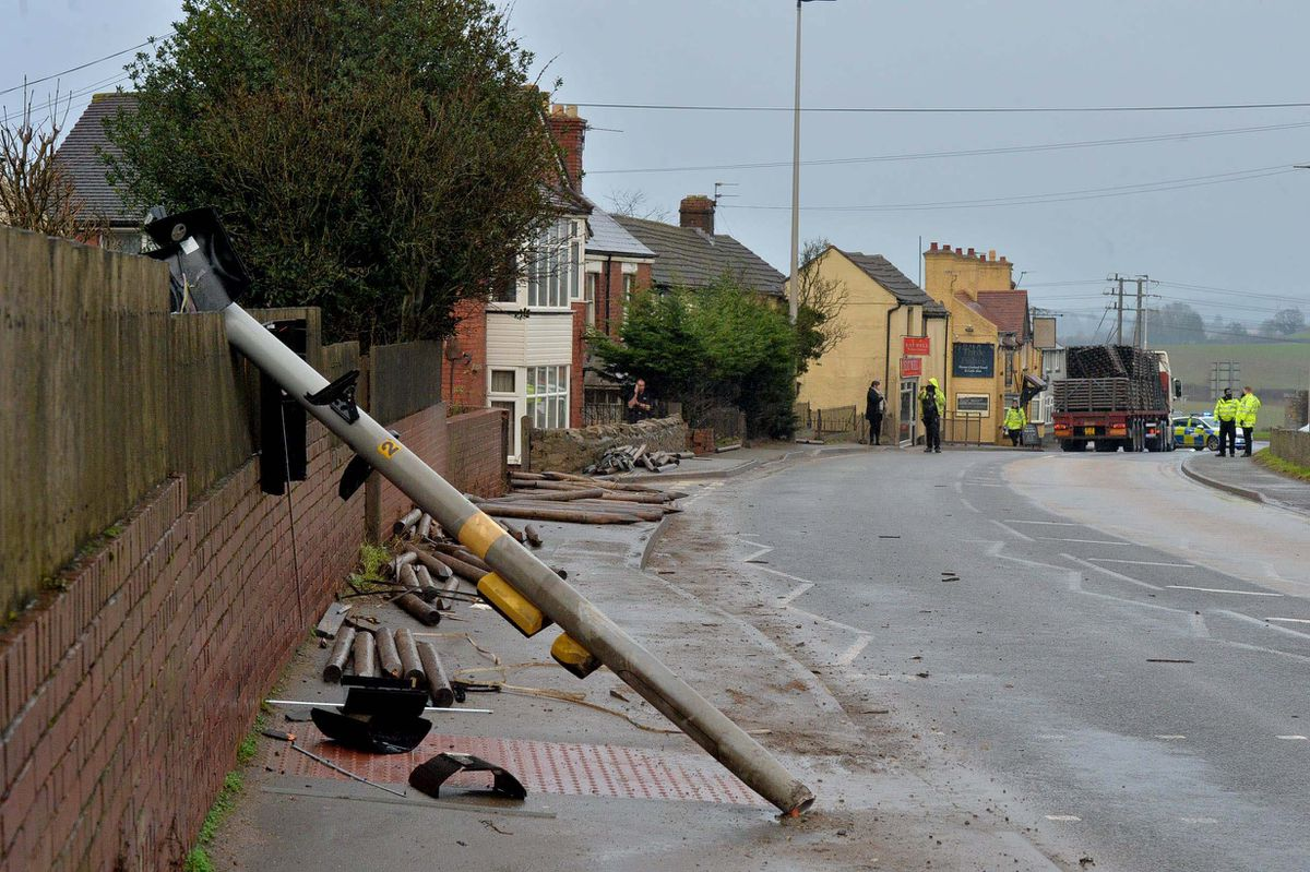 A pole was knocked down in the incident