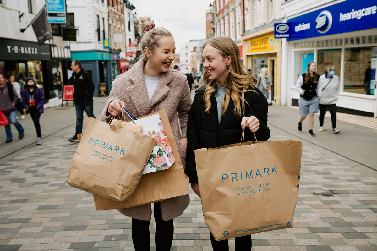 Shoppers at Shrewsbury's Pride Hill. Pictured: Sisters Elain Jones, 18, and Awel Jones, 15, from Welshpool area