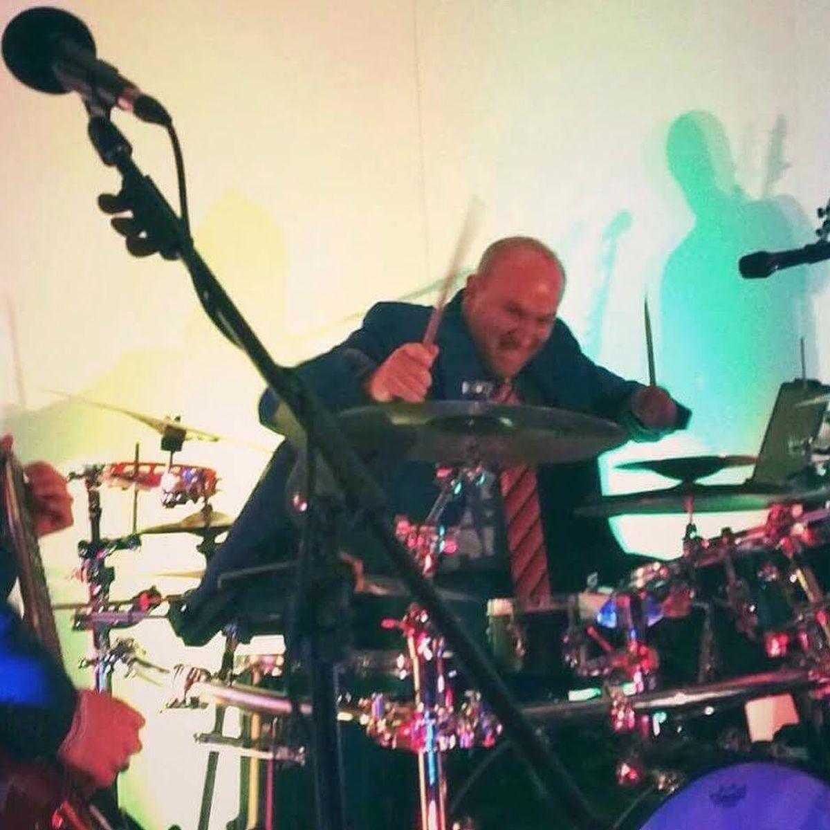 Tim rocking out on Sonic Booms drum kit with the band!