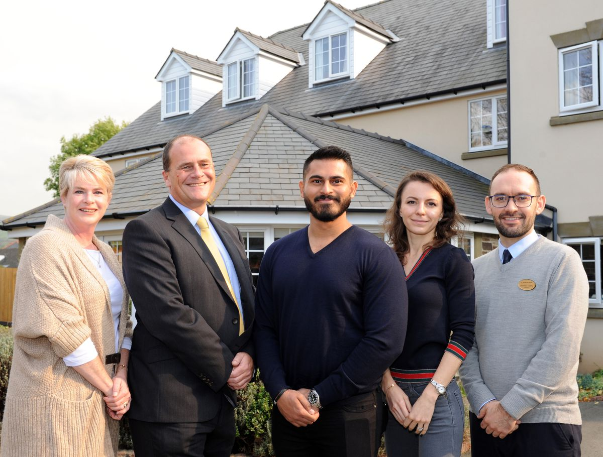 Rosie Howell of RDCP, David Booth, Sameer Rizvi and Iryna Dubylovska of RDCP and St Nicholas House manager Stephen Evison