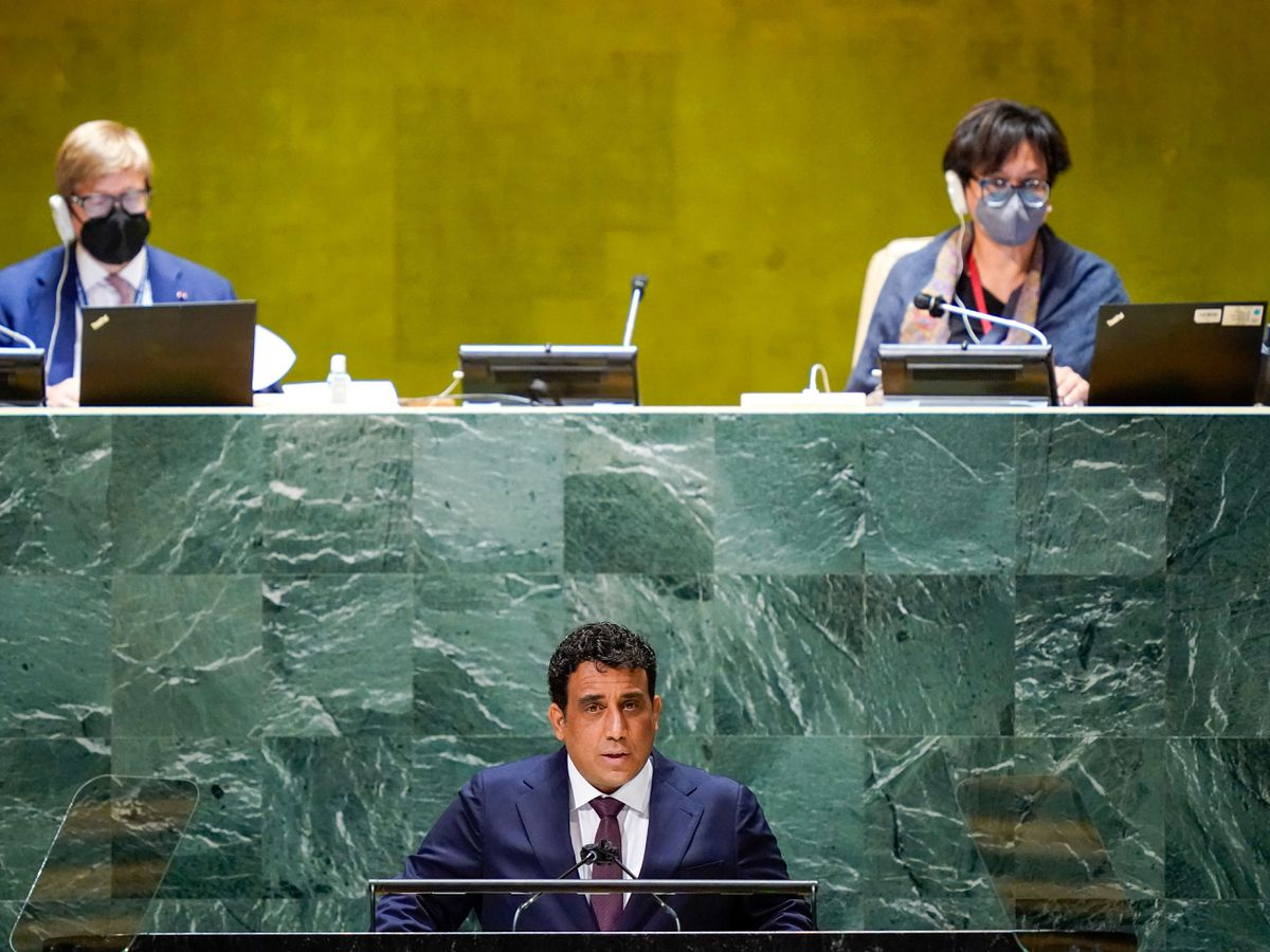 Libya's President Mohamed Younis Menfi addresses the 76th Session of the United Nations General Assembly (Mary Altaffer/AP)
