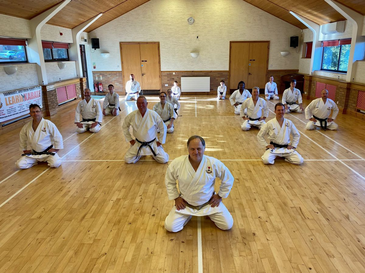 In front of his students is proud Sensei Wayne Butler. From left to right by row, starting on the back row, are: Simon Williams, Dylan Thompson, Harry King, Lindsey Bermingham, Kym Winnall, Ella Ratcliff, David Fox, Cameron Powell, John Powell, Danielle Evans, Andy Stokes, Andrew Mander, Iain Alexander, Kit Halligan and David Webb