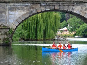 Enjoying a journey down the river in Shrewsbury in the warm weather..