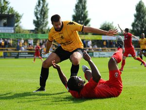 TELFORD COPYRIGHT MIKE SHERIDAN PENALTY. Andre Brown of Telford is brought down by Ryan Astles of Southport during the National League North fixture between Southport and AFC Telford United at Haig Avenue on Saturday, August 24, 2019..Picture credit: Mike Sheridan..MS201920-005.