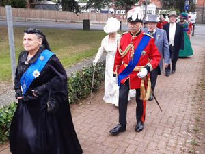 Queen Victoria leads the parade to officially open the 40th Llandrindod Wells Victorian Festival