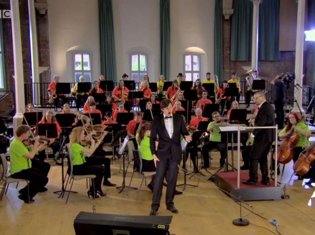 Screengrab from the BBC Four TV show All Together Now: The Great Orchestra Challenge featuring a group from Sandwell