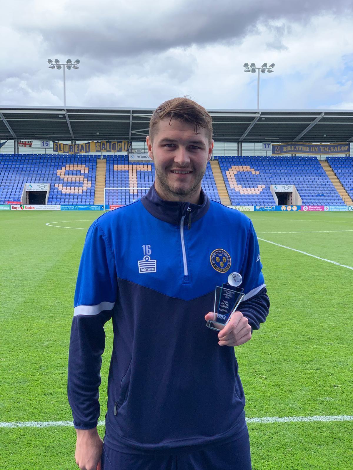 Brad Walker won Shrewsbury Town goal of the season for 2020/21 for his strike at Cambridge United