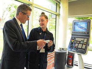 Education Secretary Gavin Williamson talks to student Beth Jones, 17, during his visit to Dudley College