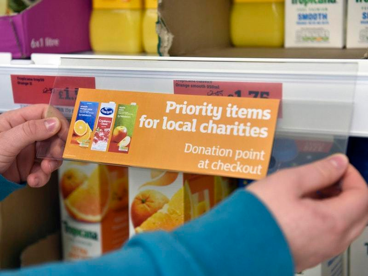 On-shelf labels to remind shoppers of foodbanks