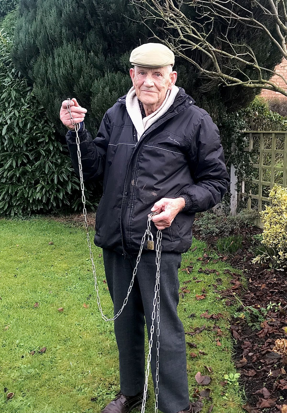 Peter Young, 79, organiser of the Sheriffhales Christmas display with the chains that were broken