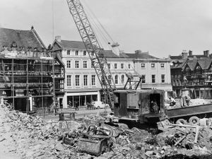 All gone... A new vista was opened up in The Square, Shrewsbury, with the completion of the demolition of the old Shirehall in April 1971. It was not long however before new shops and offices were built on the cleared site.