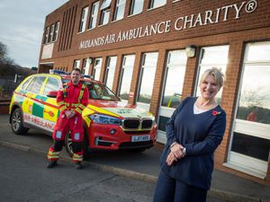 Hanna Sebright with critical care paramedic Ryan Ferris at the Midlands Air Ambulance Charity headquarters