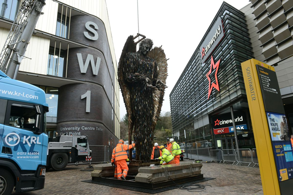 The 27ft-high Knife Angel sculpture, created to highlight the issue of knife crime, was transported to its new berth in Southwater