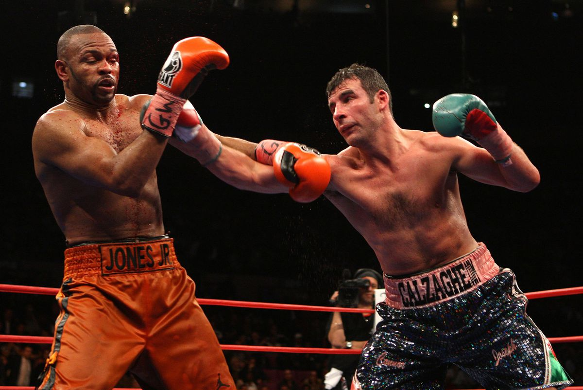 Joe Calzaghe in action against Roy Jones Junior in Calzaghe's final fight at Madison Square Gardens in 2008