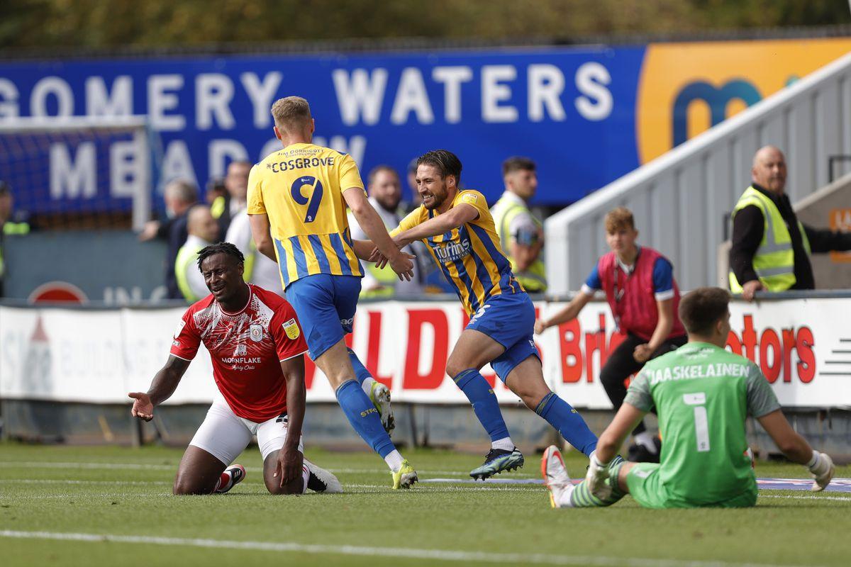 Sam Cosgrove of Shrewsbury Town celebrates after scoring a goal to make it 1-0. (AMA)