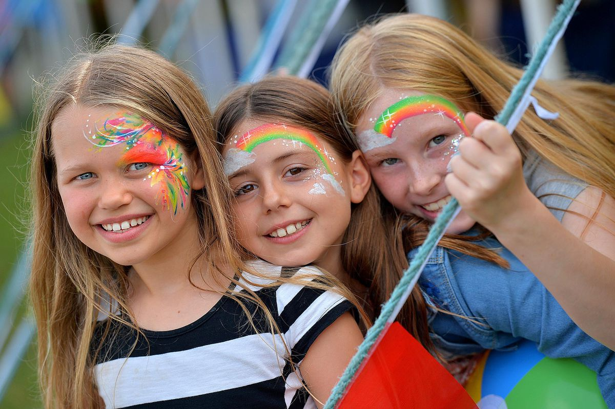 From left, Abbie Donald, Emily Wilmot, and Amelia McClelland, at the Water's Edge Festival in Newport.