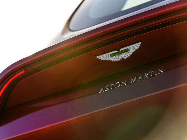 Aston lettering features at the rear of the car