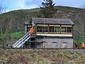 The signal box at Corwen Station, which was originally at Weston Rhyn