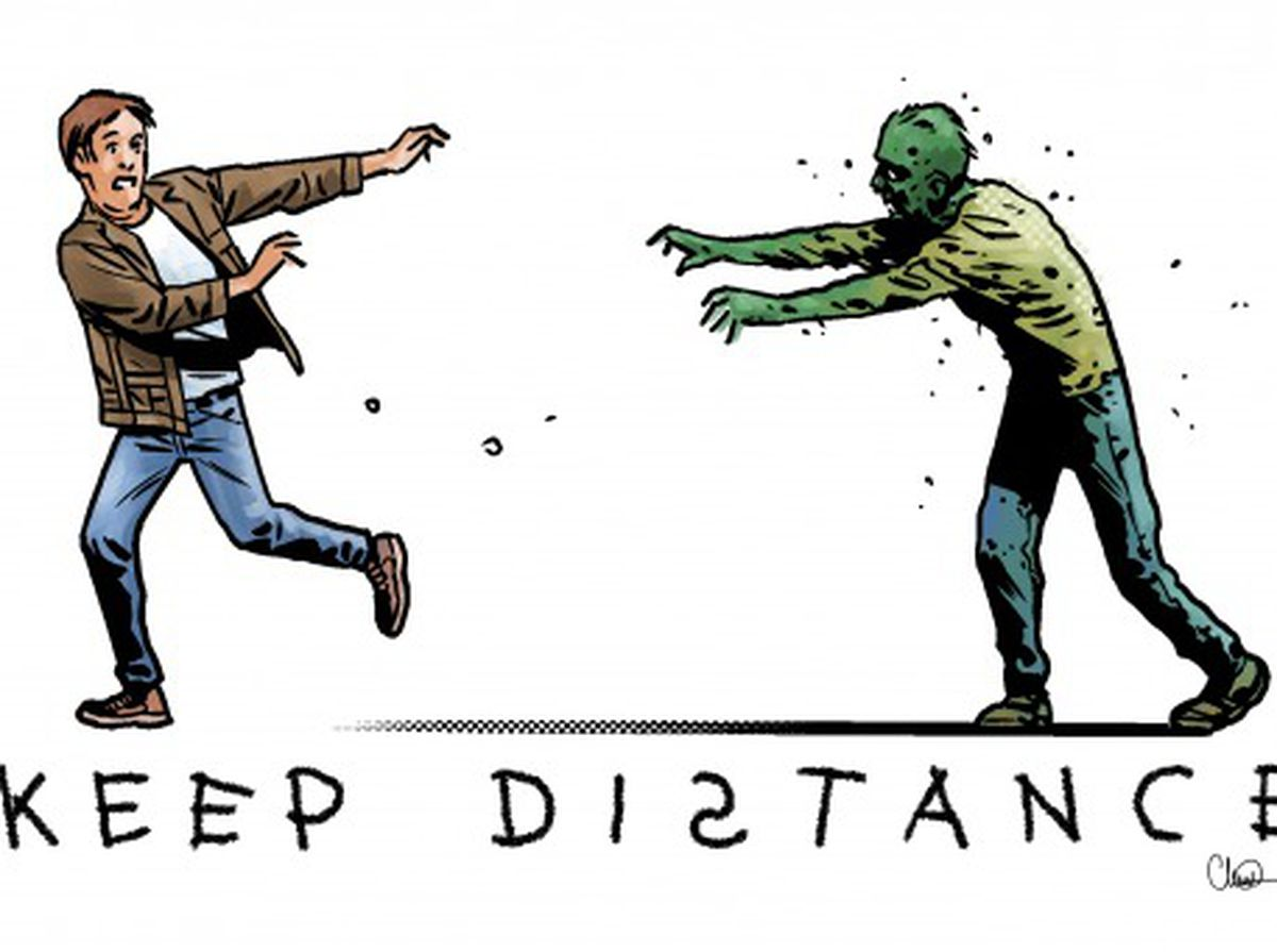The new illustrations all draw on Charlie Adlard's famous zombie creations, while encouraging people to do their part to keep everyone safe during the crisis