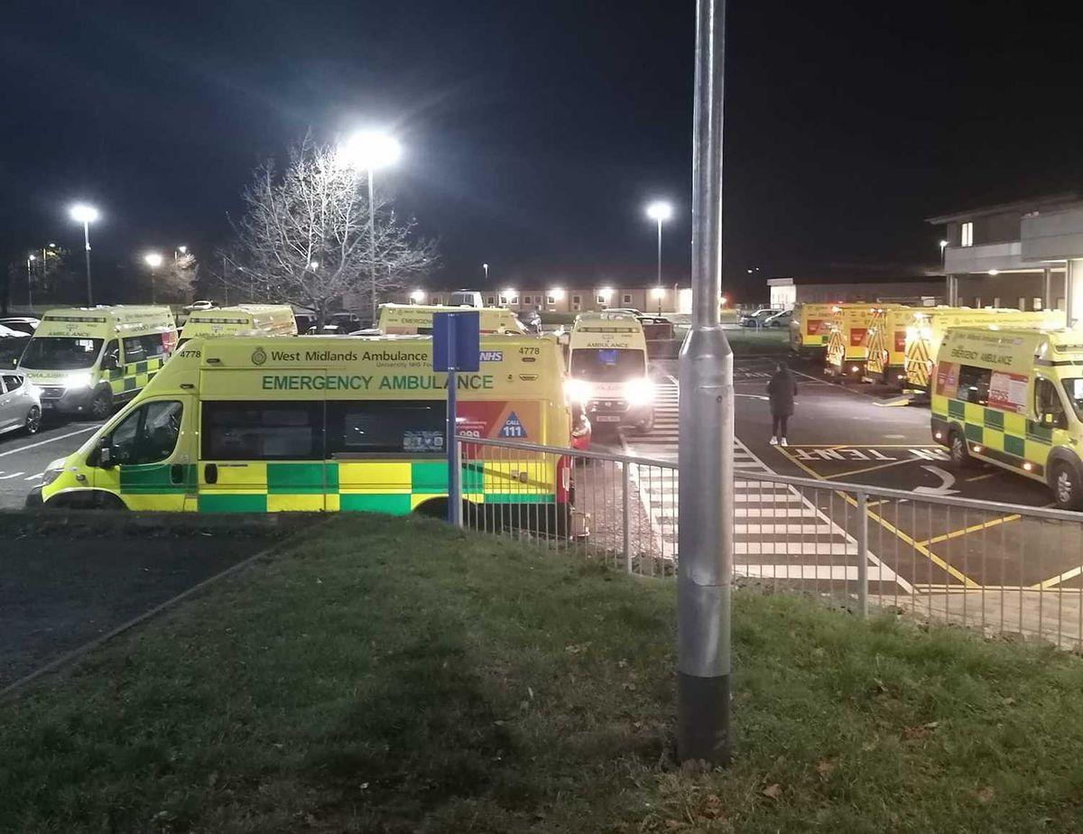 Ambulances waiting outside Princess Royal Hospital in Telford. Photo: Dave Hanley.