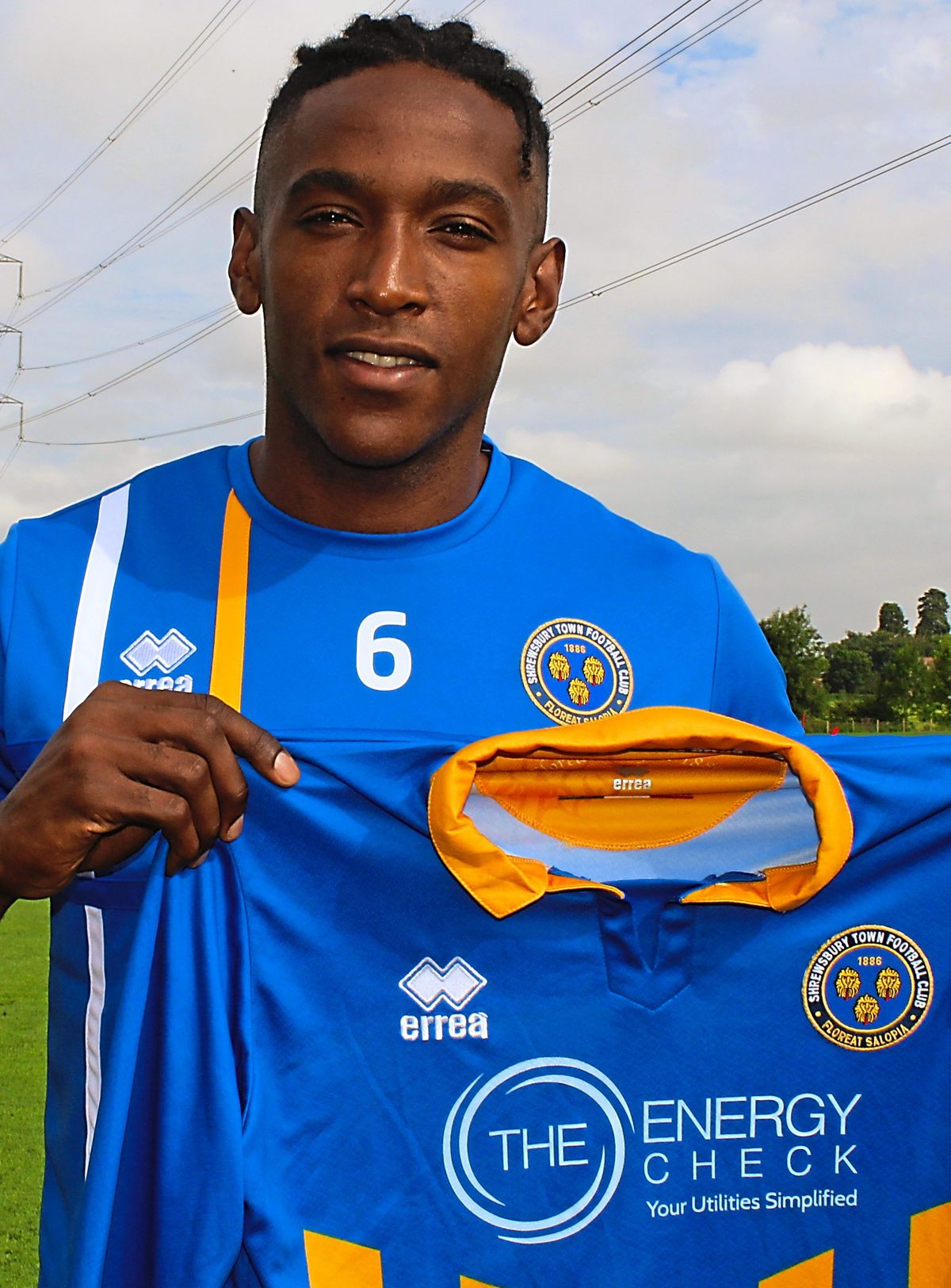 Omar Beckles after completing his move to Shrewsbury from Accrington Stanley