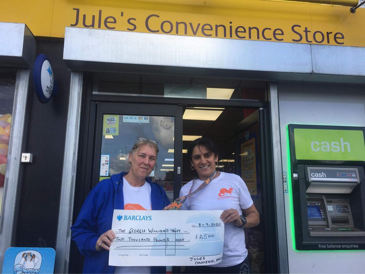 Lynette Williams with Julie Kaur with a cheque for £2,500 for the Georgia Williams Trust